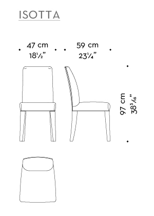 Dimensions of Isotta, a wooden dining chair with or without armrests and with a fabric or leather covered back, from Promemoria's catalogue | Promemoria