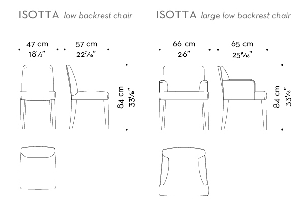 Dimensions of low backrest Isotta, a wooden dining chair with or without armrests and with a fabric or leather covered back, from Promemoria's catalogue | Promemoria