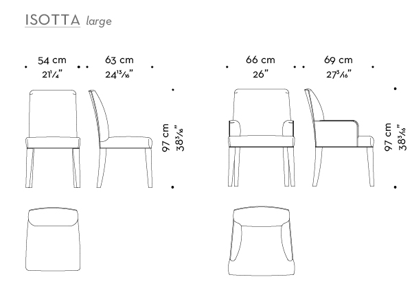 Dimensions of Isotta Large, a wooden dining chair with or without armrests and with a fabric or leather covered back, from Promemoria's catalogue | Promemoria