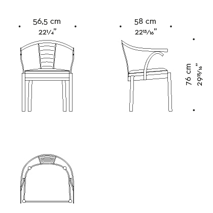 Dimensions of Jasmine, a bronze dining chair with armrests covered in leather, from Promemoria's catalogue | Promemoria
