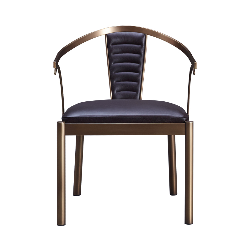 Jasmine is a bronze dining chair with armrests covered in leather, from Promemoria's catalogue | Promemoria