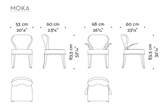 Dimensions of Moka, wooden chair covered in fabric and leather, with or without bronze armrests, from Promemoria's catalogue | Promemoria