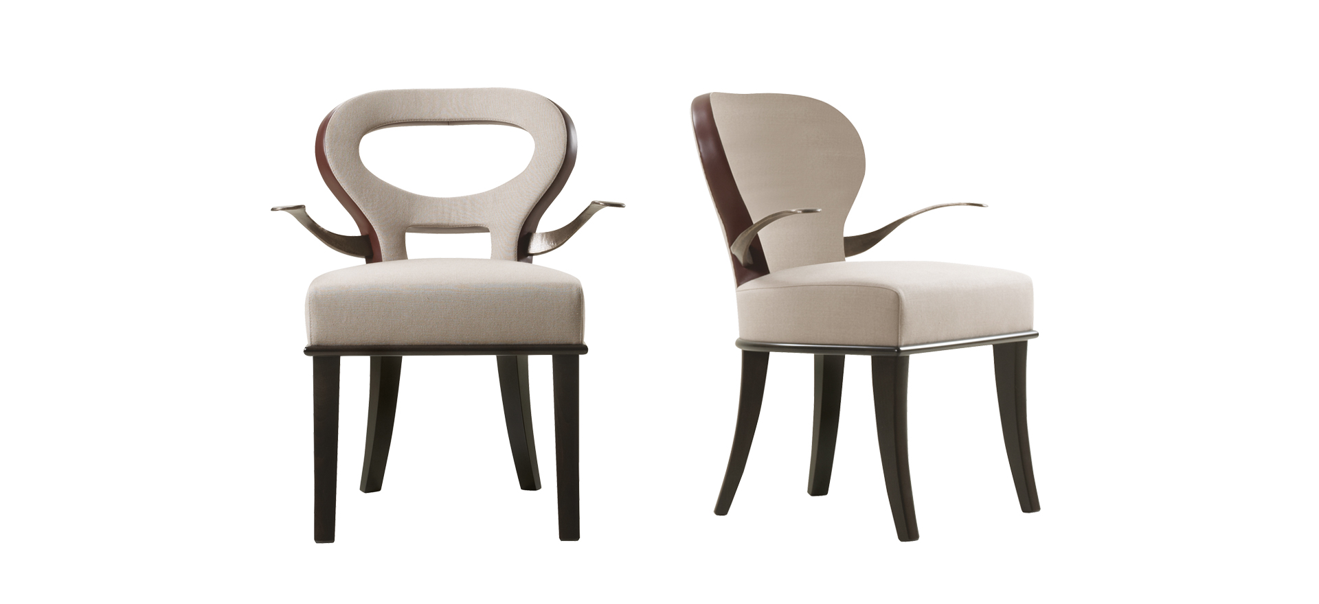 Moka e Roka are two wooden chairs covered in fabric and leather, with or without bronze armrests, from Promemoria's catalogue | Promemoria