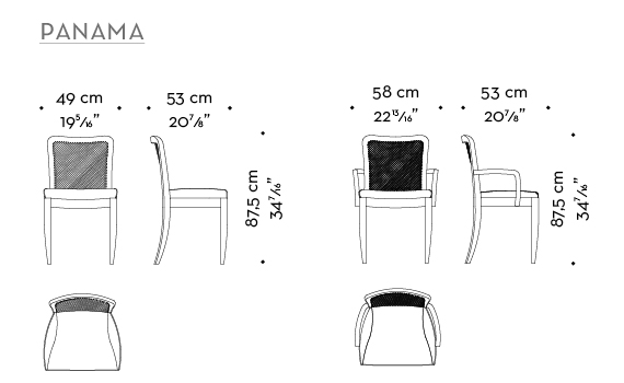 Dimensions of Panama, a wooden chair with leather rope back that can be customized, from Promemoria's catalogue | Promemoria