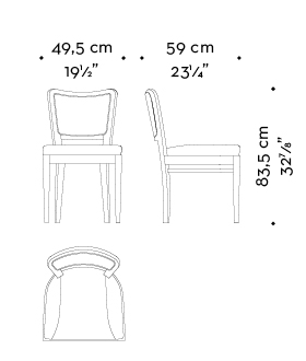 Dimensions of Pepita, a wooden dining chair with fabric or leather seat and without armrests, from Promemoria's catalogue | Promemoria