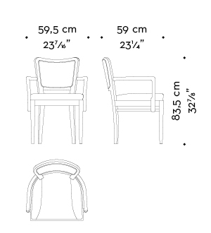 Dimensions of Pepita, a wooden dining chair with fabric or leather seat and with armrests, from Promemoria's catalogue | Promemoria