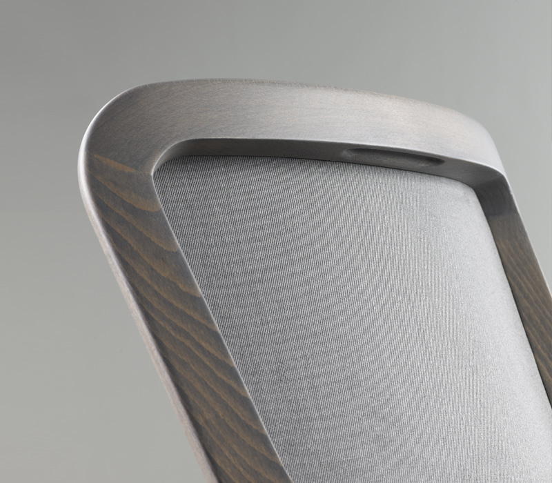 Back detail of Pepita, a wooden dining chair with fabric or leather seat, from Promemoria's catalogue | Promemoria