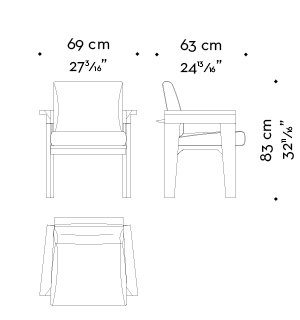 Dimensions of Priscilla, a wooden dining chair with armrests, fabric seat and back and leather details, from Promemoria's catalogue | Promemoria