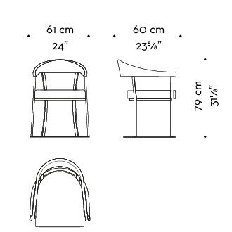 Dimensions of Rachele, a bronze chair with arms with wooden or leather back and leather seat, from Promemoria's catalogue | Promemoria