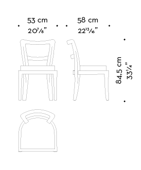 Dimensions of Sofia, a wooden dining chair with fabric or leather seat without armrests, from Promemoria's catalogue | Promemoria