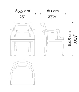 Dimensions of Sofia, a wooden dining chair with fabric or leather seat and armrests, from Promemoria's catalogue | Promemoria