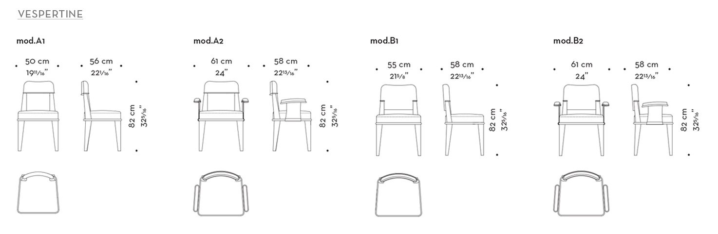 Dimensions of Vespertine, a wooden dining chair with leather seat and back and with or without armrests with bronze details, from Promemoria's Night Tales collection | Promemoria