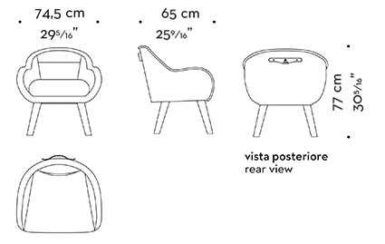 Dimensions of Vittoria, a wooden chair covered in fabric or leather with a bronze handle on the back, from Promemoria's catalogue | Promemoria