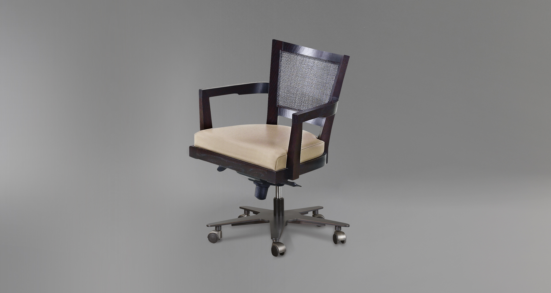 Caffè is a wooden office chair with straw back and fabric or leather seat, from Promemoria's catalogue | Promemoria