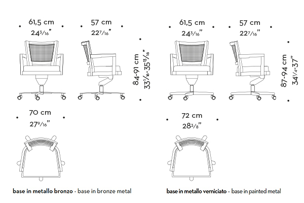Dimensions of Caffè, a wooden office chair with straw back and fabric or leather seat, from Promemoria's catalogue | Promemoria