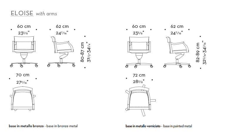 Dimensions of Eloise, a wooden office chair without armrests and leather seat, from Promemoria's catalogue | Promemoria