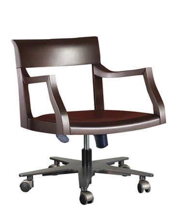 Eloise is a wooden office chair with or without armrests and leather seat, from Promemoria's catalogue | Promemoria
