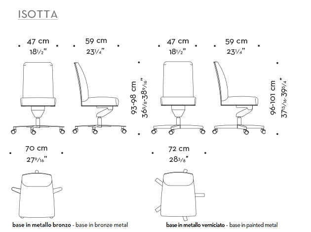 Dimensions of Isotta, an office chair without armrests covered in fabric or leather, from Promemoria's catalogue | Promemoria