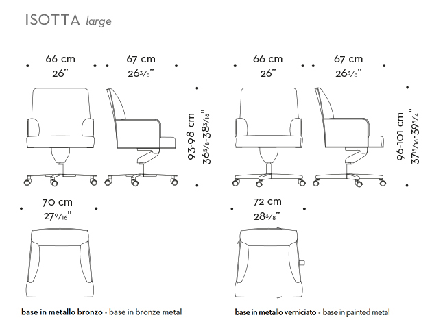 Dimensions of Isotta, an office chair with armrests covered in fabric or leather, from Promemoria's catalogue | Promemoria