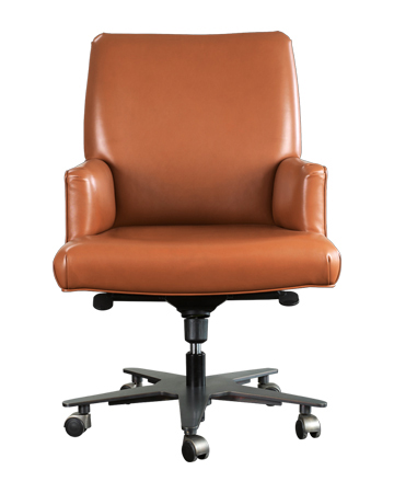 Isotta is an office chair with or without armrests covered in fabric or leather, from Promemoria's catalogue | Promemoria