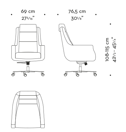 Dimensions of Kate, an office chair with a metal base covered in leather and fabric, from Promemoria's Amaranthine Tales collection | Promemoria