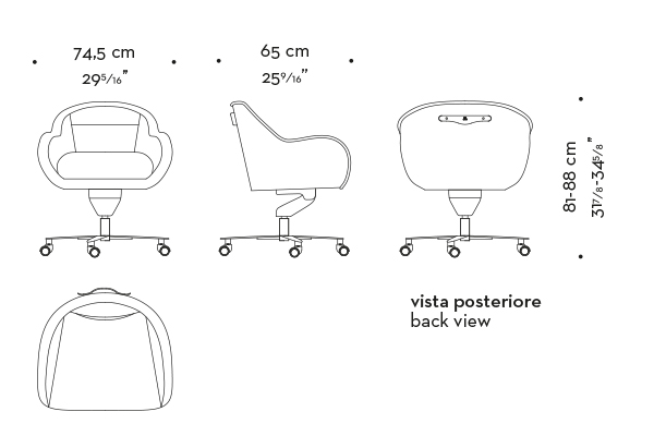Dimensions of Vittoria, an office chair with a metal or bronze base, covered in fabric or leather with a bronze handle on the back, from Promemoria's catalogue | Promemoria