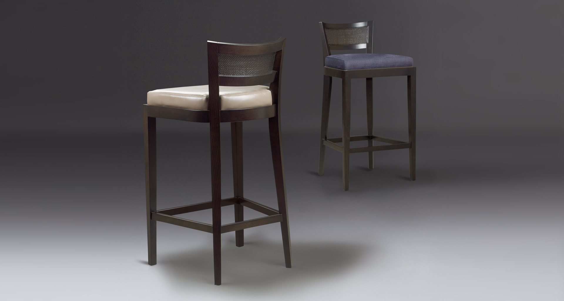 Caffè is a wooden stool with straw back and fabric or leather seat, from Promemoria's catalogue | Promemoria