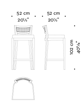 Dimensions of Caffè, a wooden stool with straw back and fabric or leather seat, from Promemoria's catalogue | Promemoria