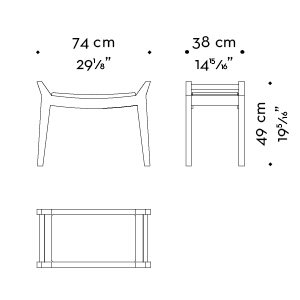 Dimensions of Jean, a wooden stool, leather seat, upholtery and handles, from Promemoria's Amaranthine Tales collection | Promemoria