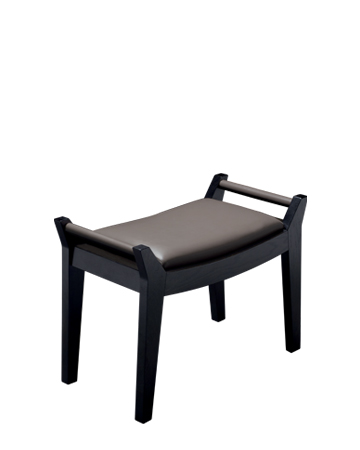 Jean is a wooden stool, leather seat, upholtery and handles, from Promemoria's Amaranthine Tales collection | Promemoria