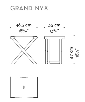 Dimensions of Grand Nyx, a folding wooden stool with bronze details and leather seat, from Promemoria's Night Tales collection | Promemoria
