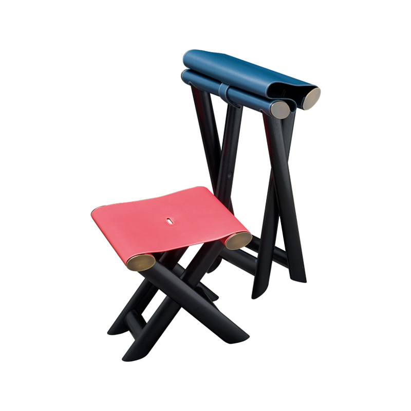 Petit Nyx and Grand Nyx are two folding wooden stools with bronze details and leather seat, from Promemoria's Night Tales collection | Promemoria