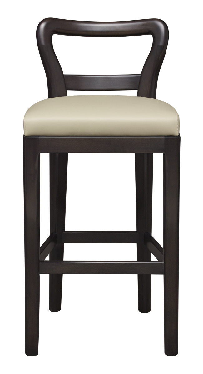 Sofia is a wooden stool with seat covered in fabric or leather, from Promemoria's catalogue | Promemoria