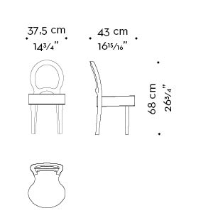 Dimensions of Bilou Bilou Kids, the children's version of the iconic chair from the Promemoria's catalogue | Promemoria