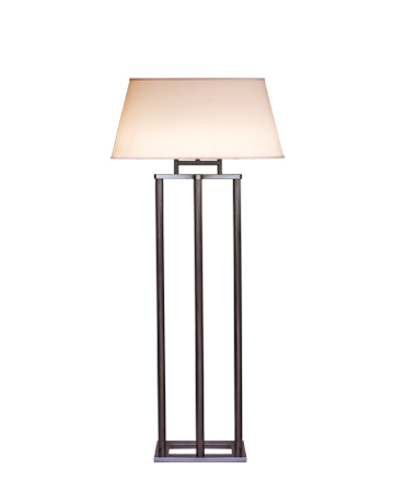 Catherine is a floor LED lamp with bronze structure and a lampashade oval, rectangular or with linen, cotton or silk with handmade edge recesses, from Promemoria's catalogue | Promemoria