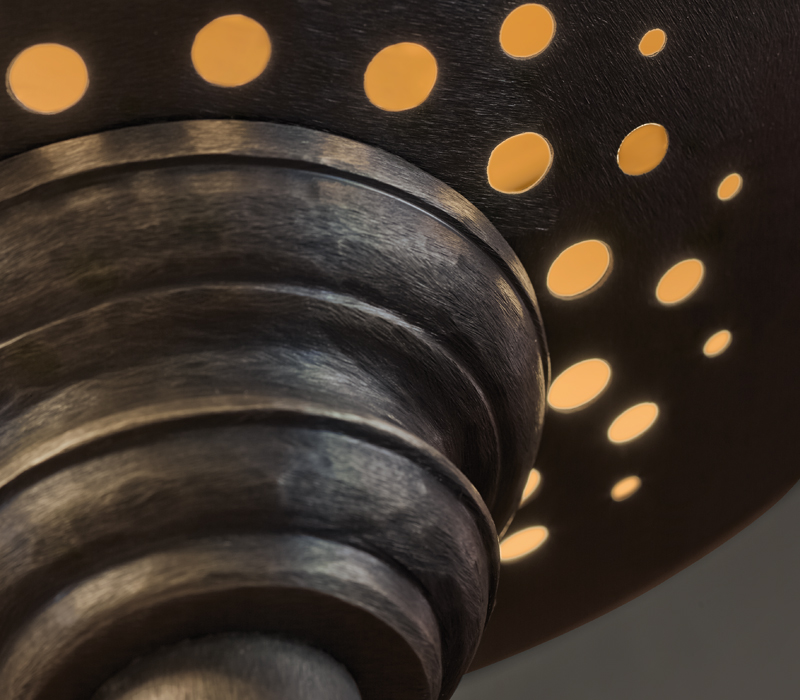 Detail of Charlotte, a floor LED lamp in bronze with methacrylate diffuser, from Promemoria's catalogue | Promemoria