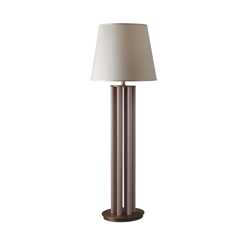 Clori is a floor LED lamp with leather or wooden structure, bronze base and details and linen, cotton or silk with handmade edge, from Promemoria's Amaranthine Tales collection | Promemoria