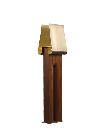 Dodoma is a floor lamp with wooden structure, an external bronze shade and an internal brass and Murano glass shade, from Promemoria's Capsule Collection by Bruno Moinard | Promemoria