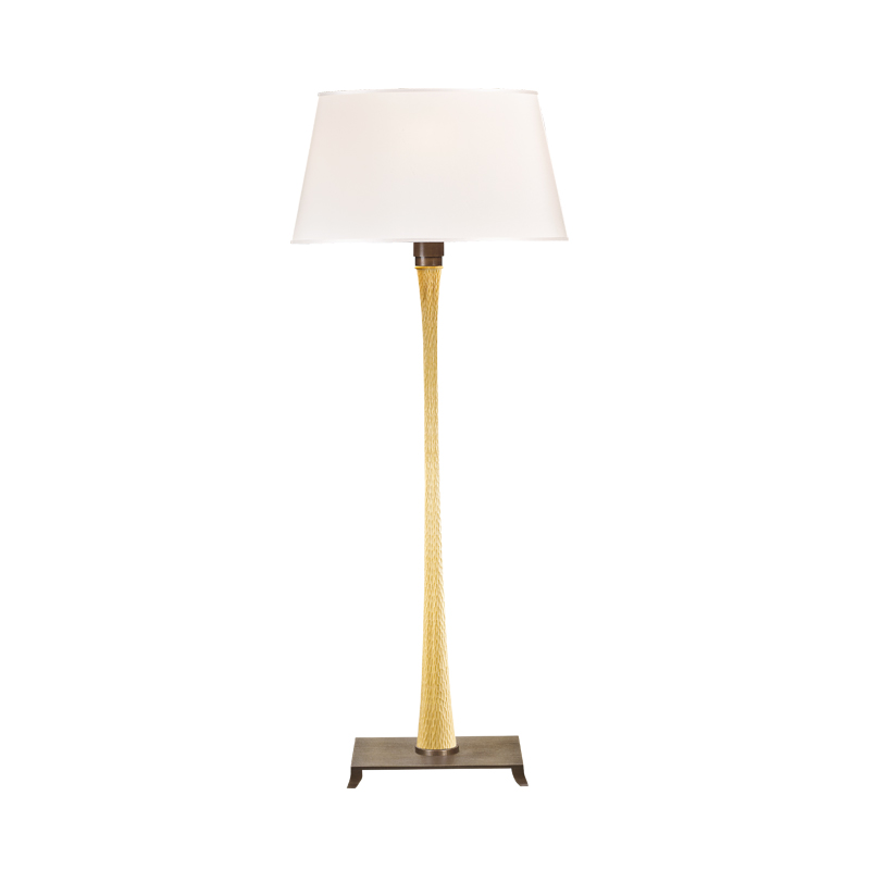 Georges is a floor LED lamp with wooden structure, bronze base and a lampshade with grooves, from Promemoria's catalogue | Promemoria