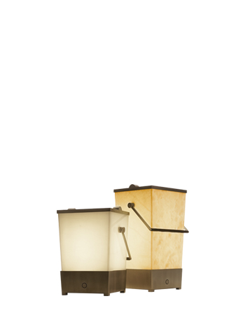 Hara is a floor wireless LED lamp shaped like a bucket with a bronze handle covered in leather, from Promemoria | Promemoria