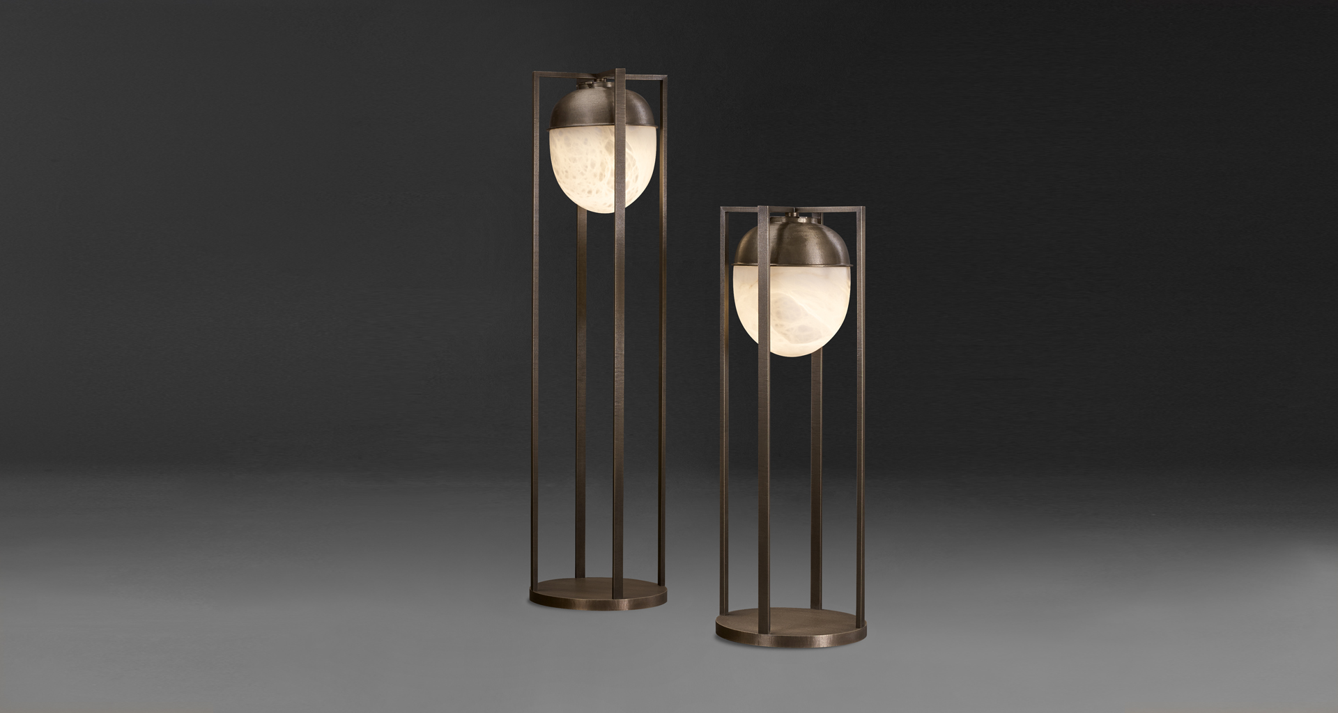 Jorinda is a floor LED lamp with bronze structure and alabaster lampshade, from Promemoria's catalogue | Promemoria