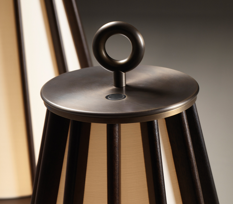 Detail of Mirtilla, a floor LED lamp, with bronze and wooden structure and silk lampshade, from Promemoria's Amaranthine Tales collection | Promemoria