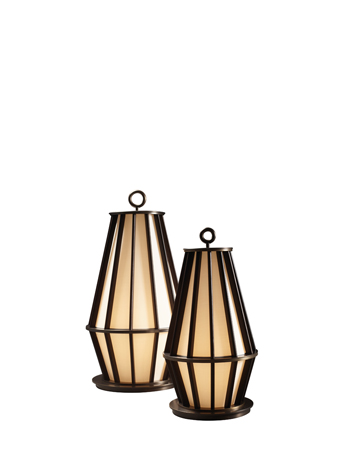 Mirtilla is a floor LED lamp, with bronze and wooden structure and silk lampshade, from Promemoria's Amaranthine Tales collection | Promemoria
