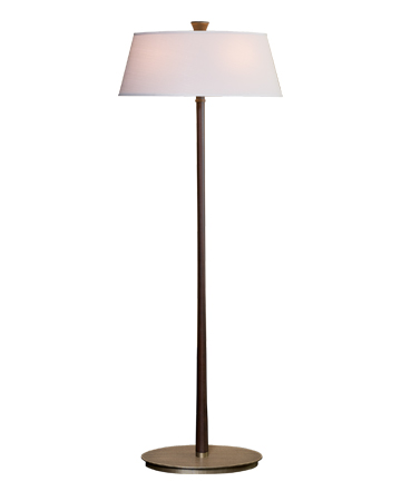 Rita is a floor LED lamp with a wooden strucutre, a bronze base and a linen, cotton or hand-embroidered silk lampashade, from Promemoria's catalogue | Promemoria