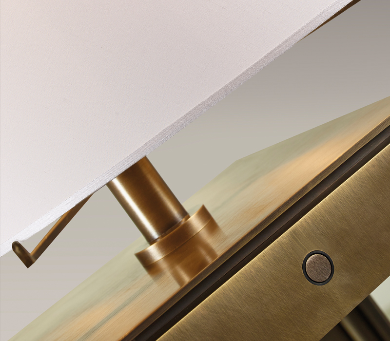 Bronze detail of Warwick, a floor bronze LED lamp with a silk lampshade with handmade edge, from Promemoria's The London Collection | Promemoria