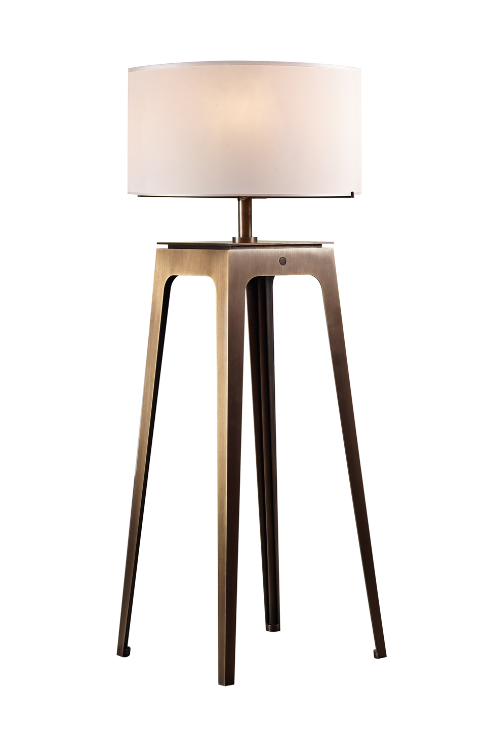 Warwick is a floor bronze LED lamp with a silk lampshade with handmade edge, from Promemoria's The London Collection | Promemoria