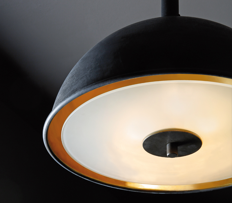 Detail of Charlotte, a hanging bronze LED lamp with a methacrylate diffuser, from Promemoria's catalogue | Promemoria