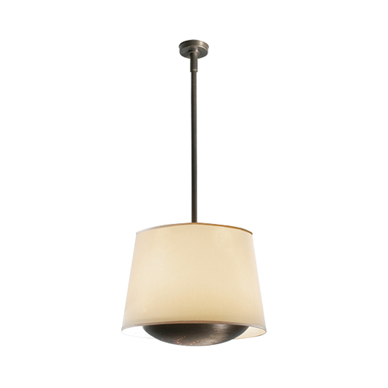 Clotilde is a bronze hanging LED lamp with a linen, cotton or silk lampshade with handmade edge, from Promemoria's catalogue | Promemoria