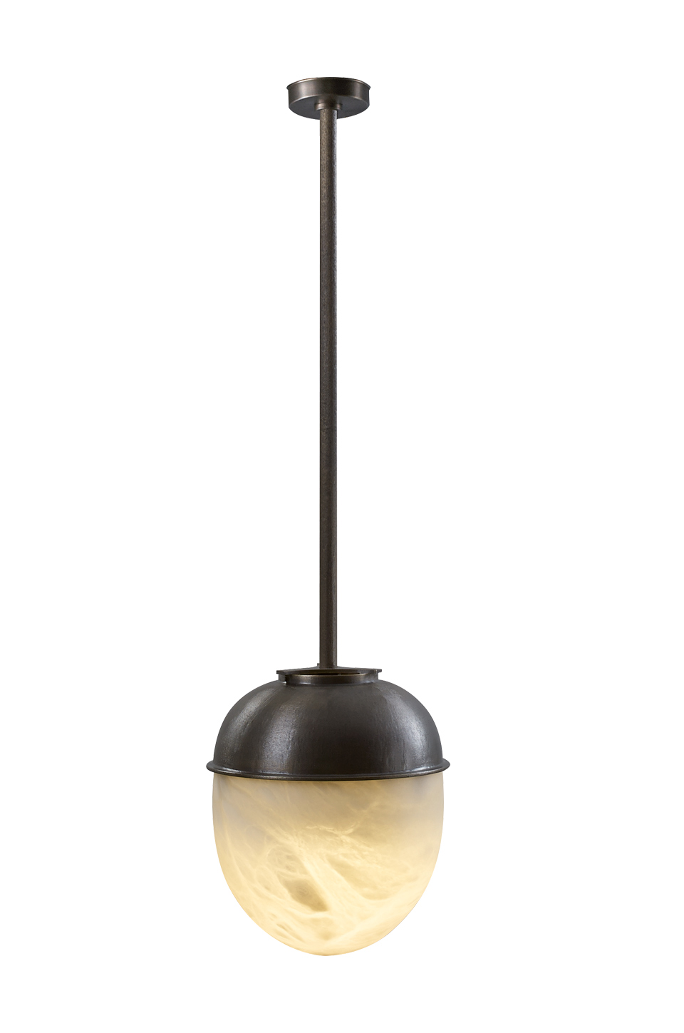 Jorinda is a bronze hanging LED lamp with an alabaster lampshade, from Promemoria's catalogue | Promemoria