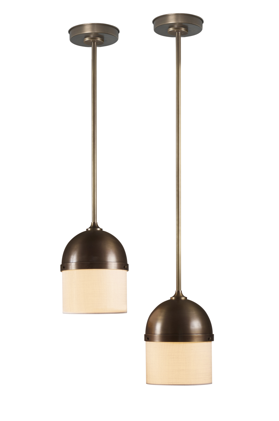 Ombretta is a bronze hanging LED lamp with linen, cotton or silk lampshades, from Promemoria's catalogue | Promemoria